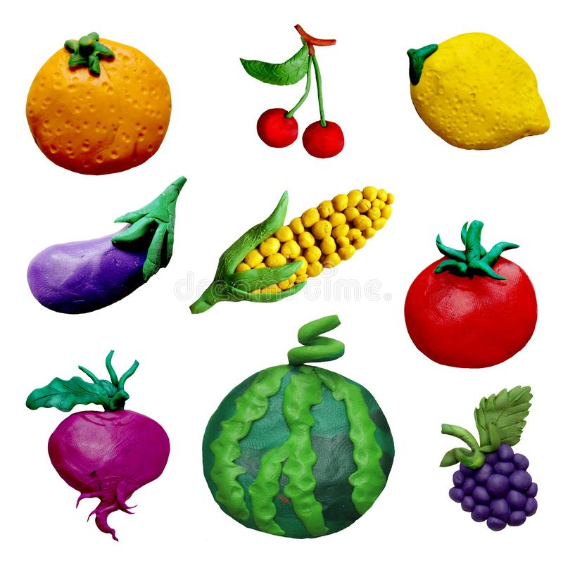 Free Colorful Plasticine Handmade 3D Fruit And Vehetables Icons Set Isolated On White Background Royalty Free Stock Images - 141734529