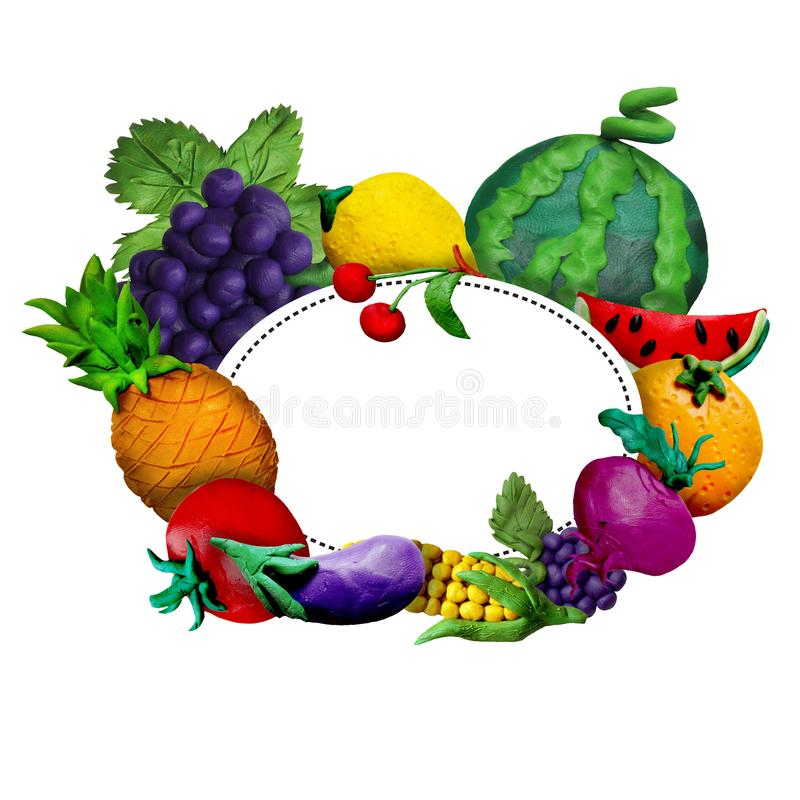 Colorful plasticine handmade 3D fruit  and vegetables frame with text place stock photo