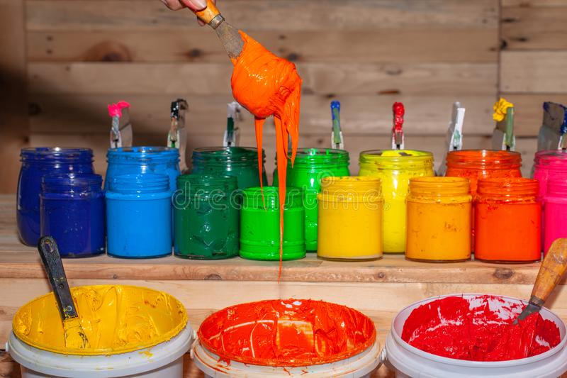 Colorful plastisol ink for print tee shirt stock image