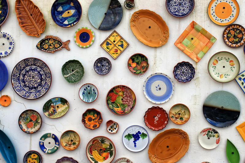Colorful plates royalty free stock photography