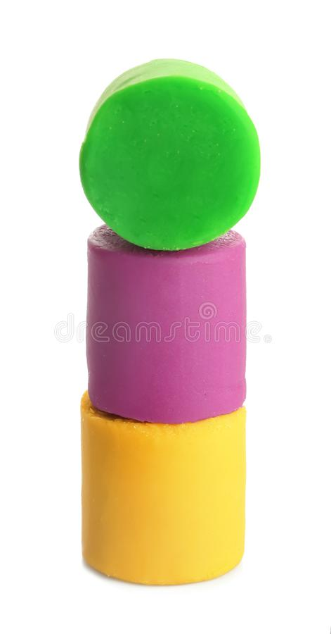 Colorful play dough. On white background royalty free stock photography