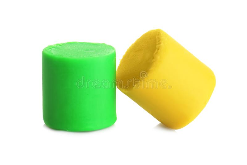 Colorful play dough. On white background stock images