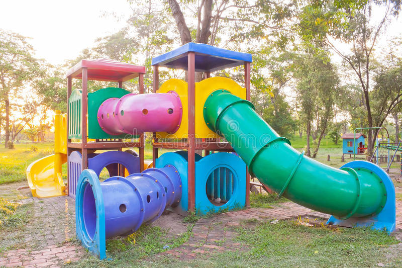 Colorful playground equipment. In outdoor park royalty free stock photography