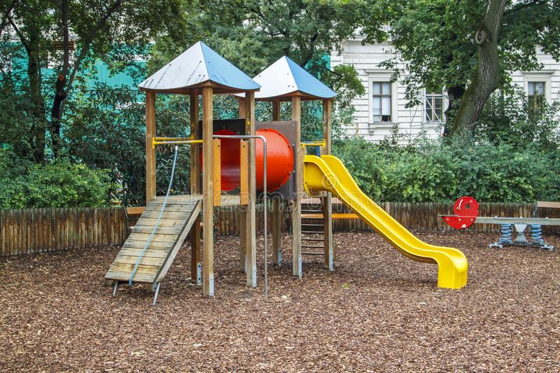 Colorful playground on yard in the city royalty free stock images