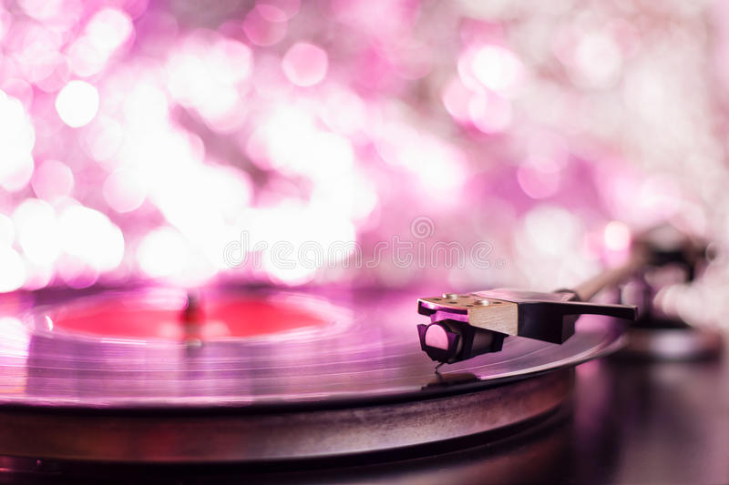 Colorful playing vintage gramophone. With blurred blackground royalty free stock image