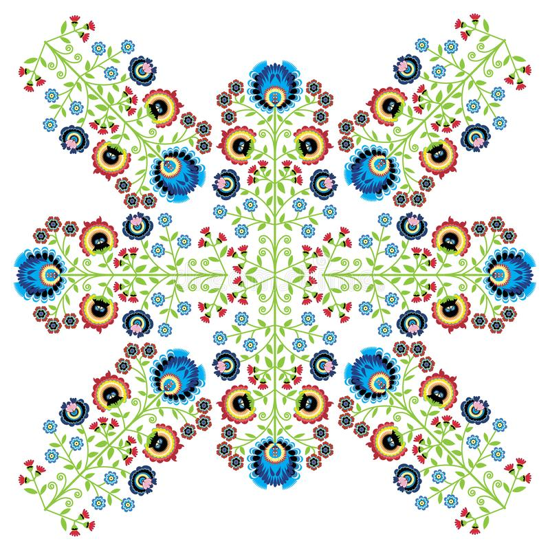 Colorful Polish folk inspired traditional floral cutout patterns made in the region of Lowicz in Poland.  royalty free illustration