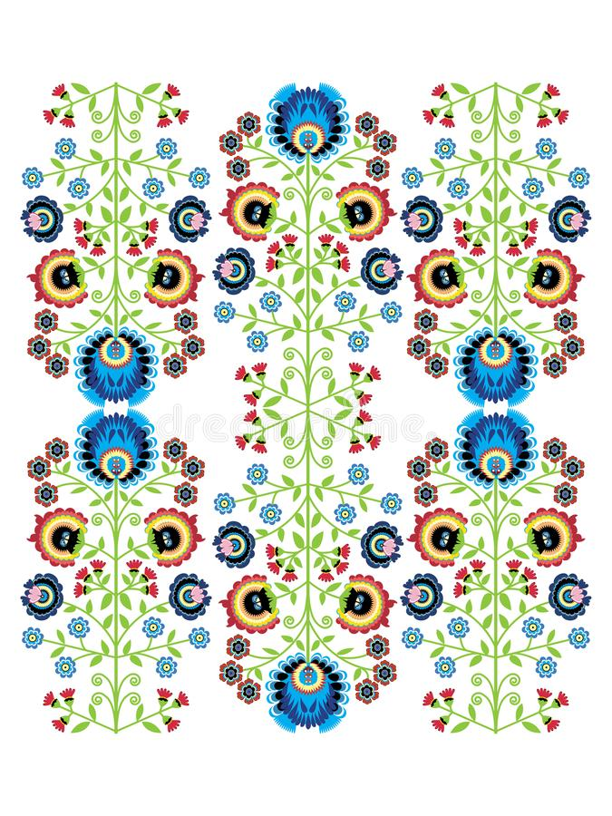 Colorful Polish folk inspired traditional floral pattern stock illustration