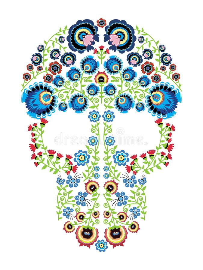 Colorful Polish folk inspired by traditional Mexican sugar skull art with floral pattern elements royalty free illustration