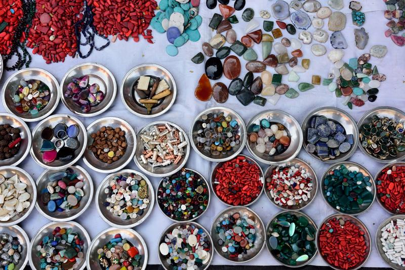 Colorful polished gemstones used for jewelry in India stock photos