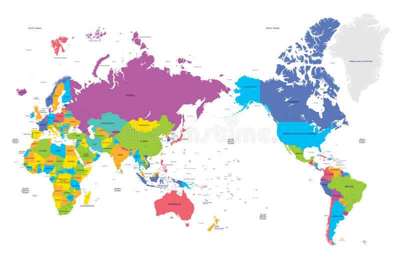 Colorful political map of the world with large cities high detail download colorful political map of the world with large cities high detail vector illustration stock gumiabroncs Gallery