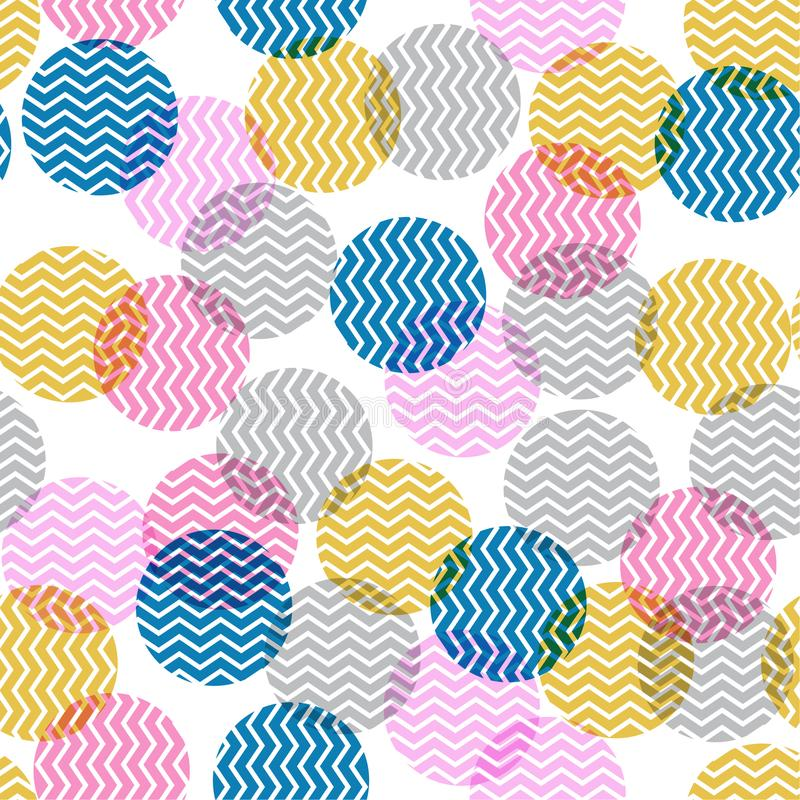 Colorful polka dot in zigzag pattern inside seamless vector for. Fashion fabric and all print on white royalty free illustration