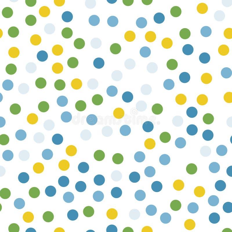 Colorful polka dots pattern on black background. vector illustration