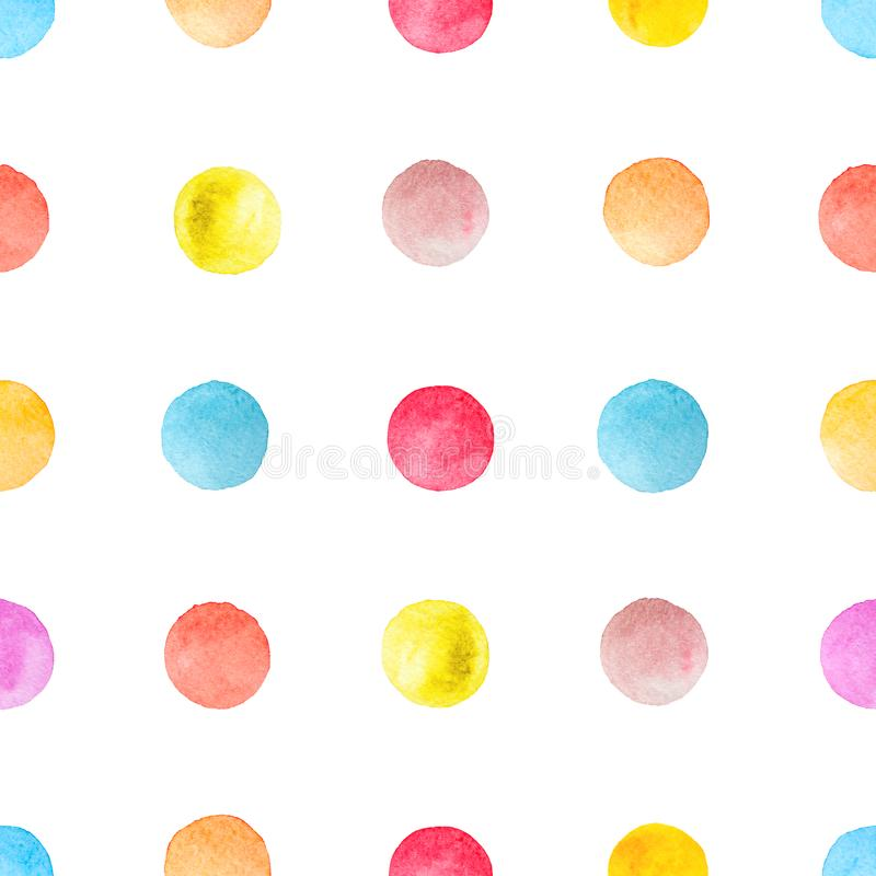 Colorful polka dots watercolor background stock images