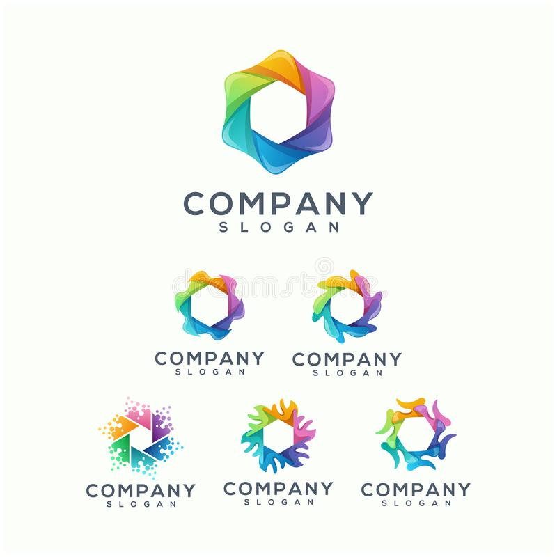 Colorful polygon logo design ready to use royalty free illustration