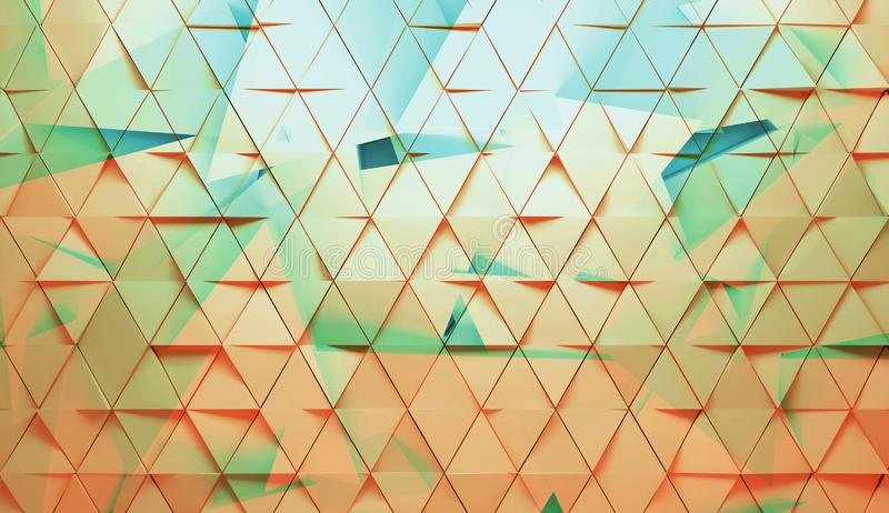 Colorful polygonal background, 3d render illustration. Abstract digital geometric pattern, colorful polygonal background, 3d render illustration stock image