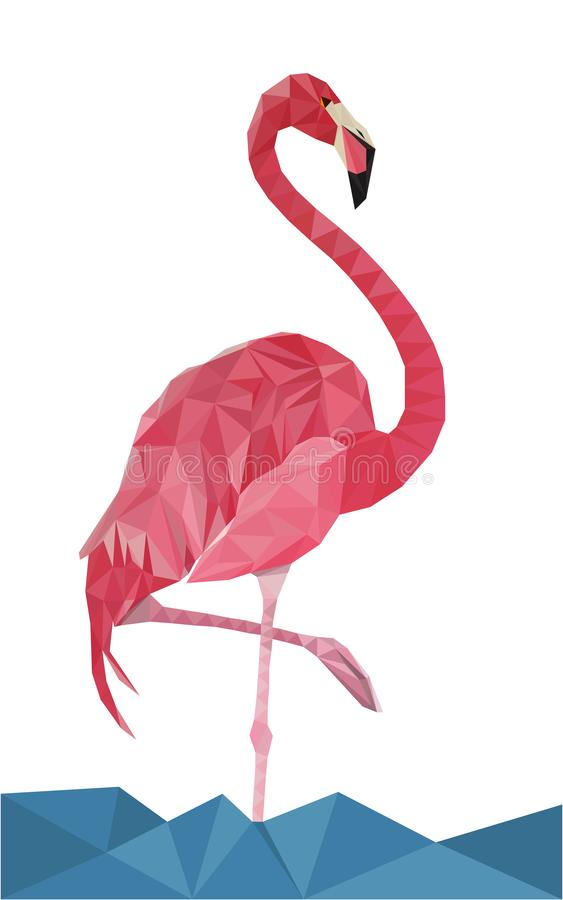 Colorful polygonal flamingo. Colorful polygonal style design of bird flamingo in pink colors in a water stock illustration