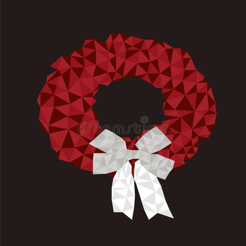 Red Christmas wreath with bow stock illustration