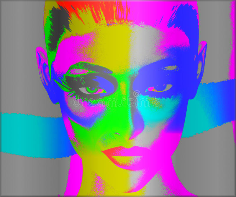Colorful pop art image of a woman's face. This is a digital art image of a close up woman's face in pop art style. A modern, abstract, punk look that's and royalty free illustration