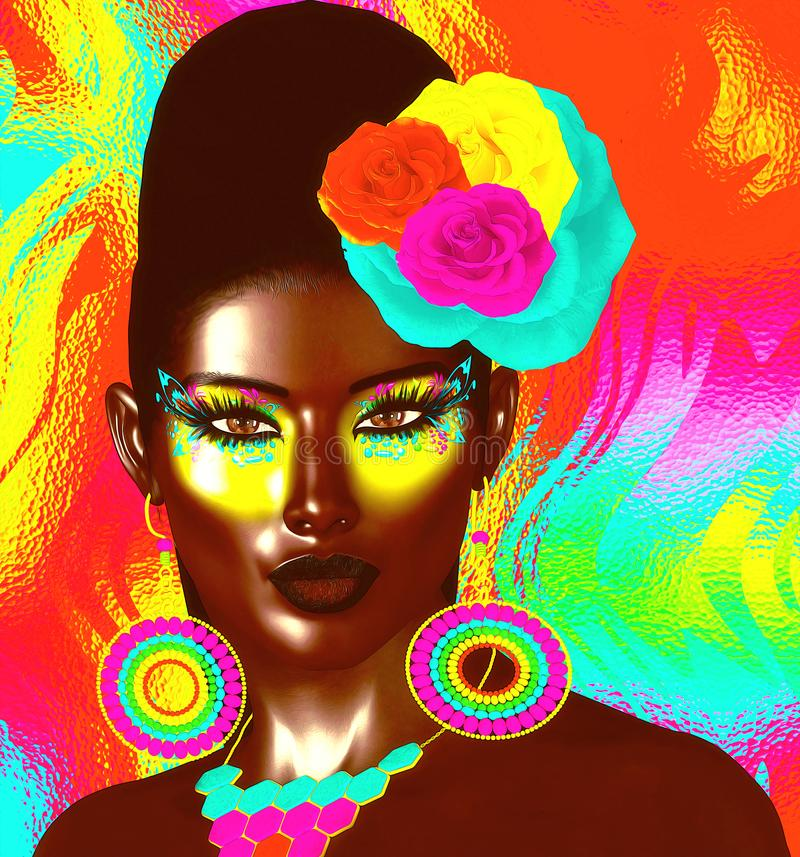 Colorful pop art image of woman`s face with flowers in hair. This is a 3d rendered digital art image of a close up woman`s face in pop art style. A modern royalty free illustration