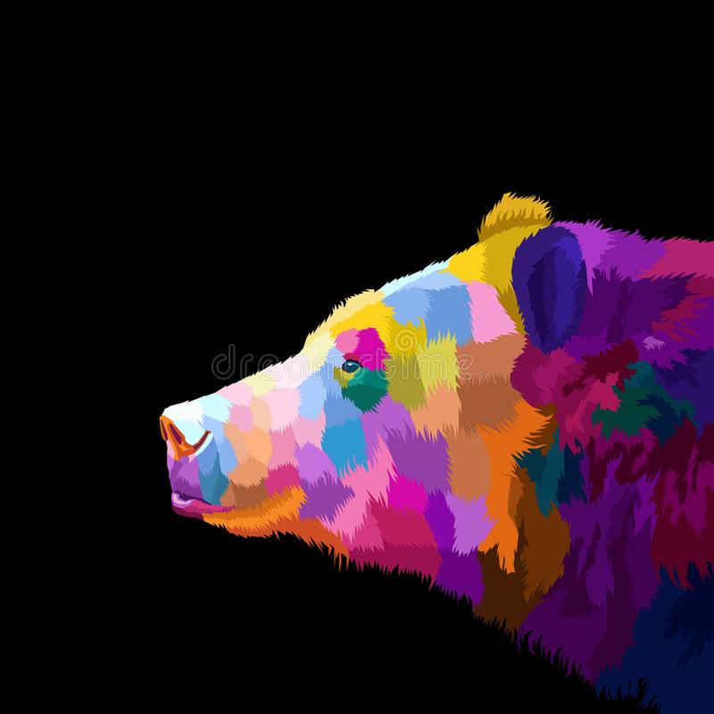 Free Colorful Pop Art Portrait Of Agressive Bear. Vector Illustration Royalty Free Stock Photography - 168047567