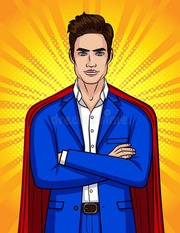 Colorful pop art style illustration of confident businessman looks like a superhero. Young handsome man in blue suit and red cloak stock illustration