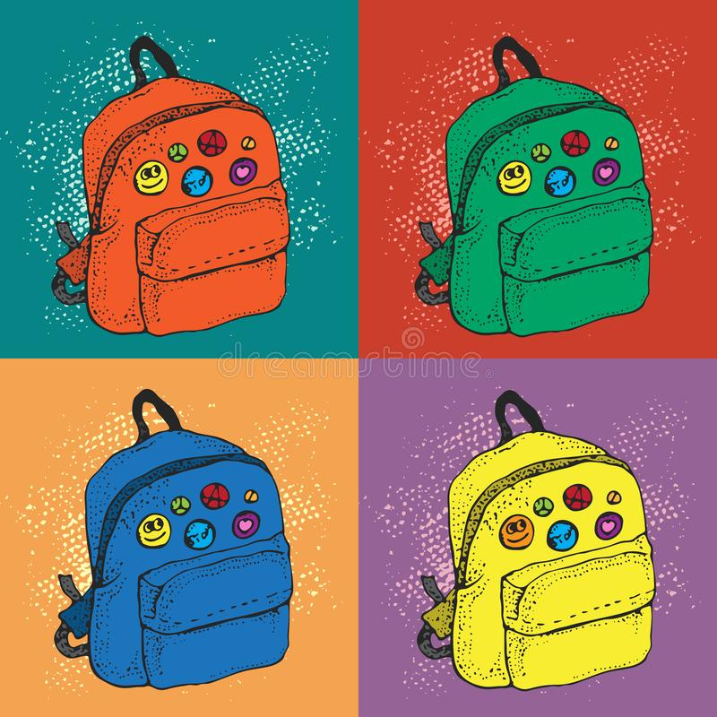 Colorful Pop art vector background of school backpack with badges. Cartoon style pattern. royalty free illustration