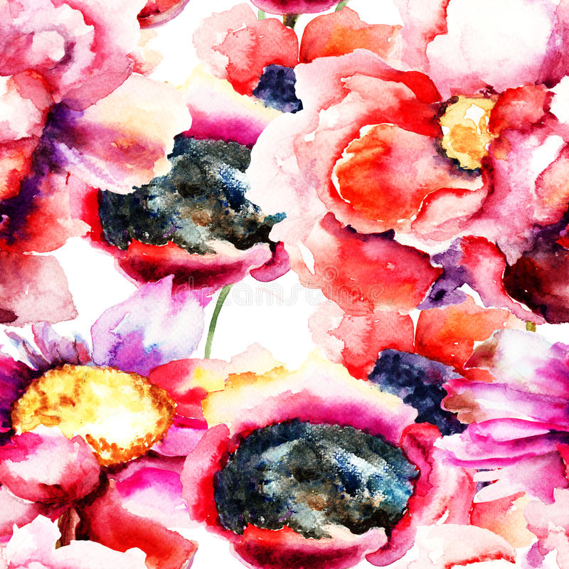 Colorful Poppy flowers. Watercolor illustration, seamless pattern vector illustration