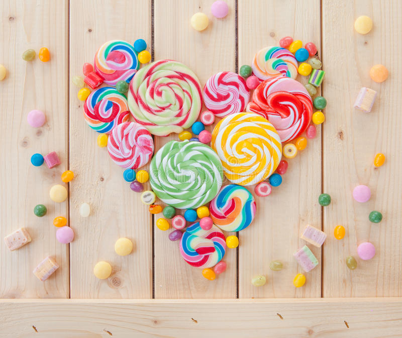 Colorful popsicles and candy royalty free stock photos