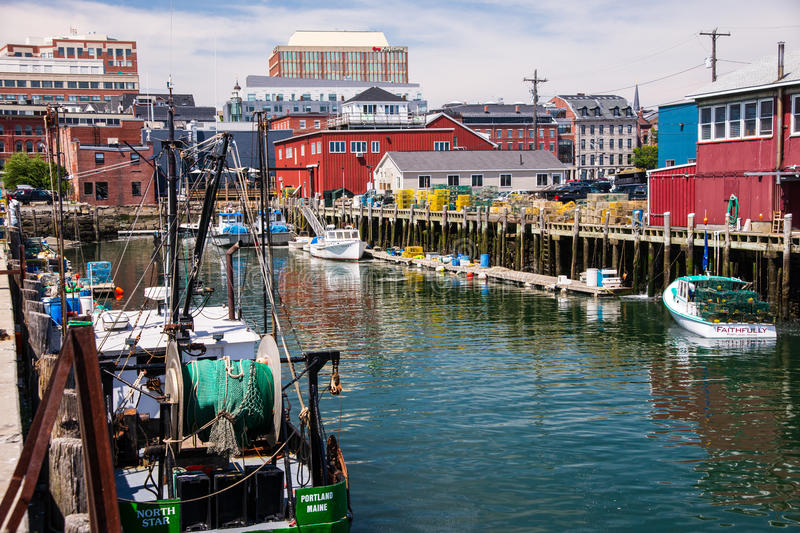 Colorful Portland Maine Harbor royalty free stock photography