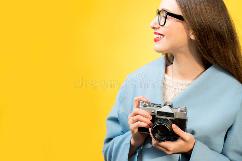 Colorful portrait of the female photographer royalty free stock images