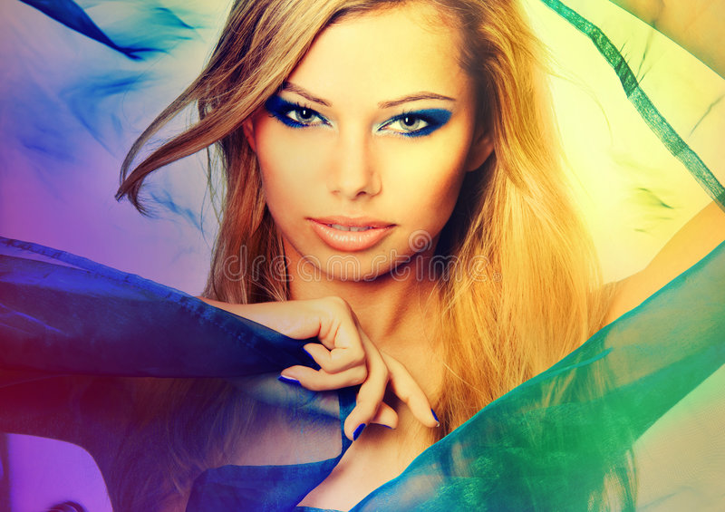 Colorful Portrait Of A Young Blond Woman Royalty Free Stock Photo
