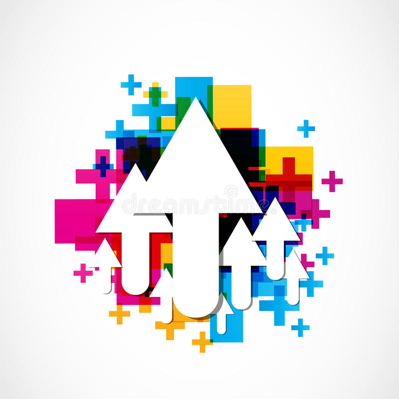 Colorful positive arrow icons royalty free illustration