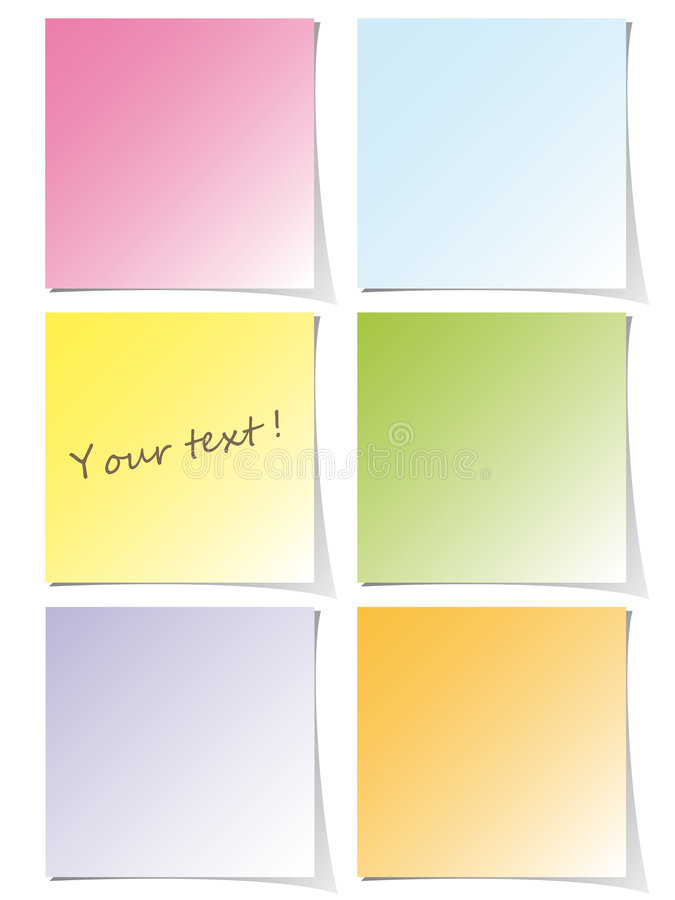 Colorful post-it set royalty free illustration