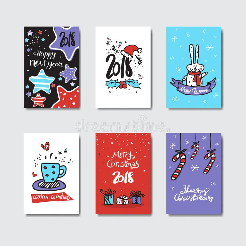 Colorful Postcards Collection Doodle Design Christmas And New Year Concept. Vector Illustration stock illustration