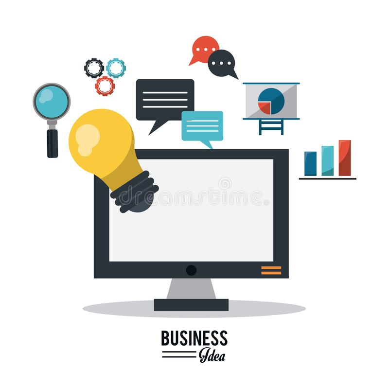 Colorful poster of business idea with desktop computer and several business icons. Vector illustration vector illustration