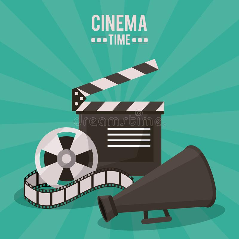 Colorful poster of cinema time with clapperboard and film reel and megaphone royalty free illustration