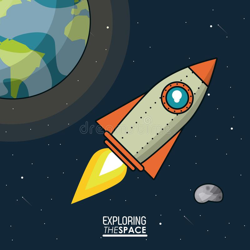Colorful poster exploring the space with spaceship and planet earth and asteroid stock illustration