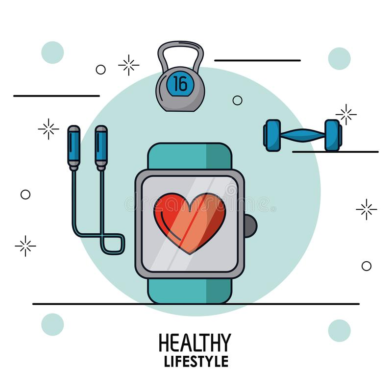 Colorful poster of healthy lifestyle with clock pulsation monitoring in closeup and dumbbell and jump rope on top stock illustration