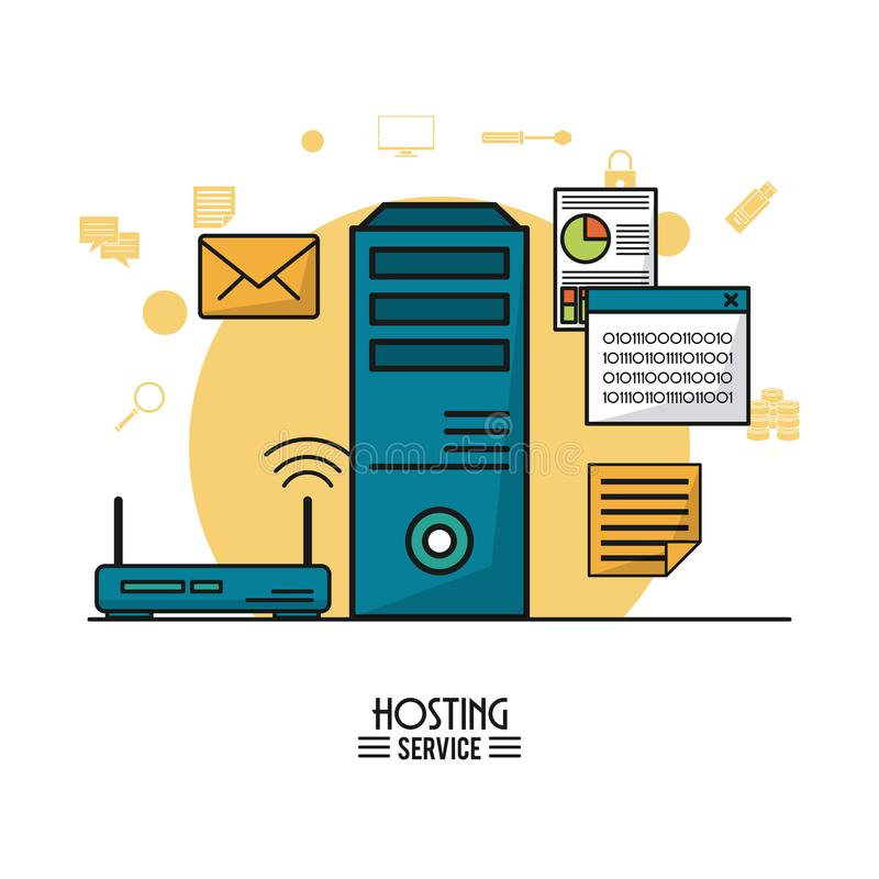 Colorful poster of hosting service with tower server and wireless router royalty free illustration