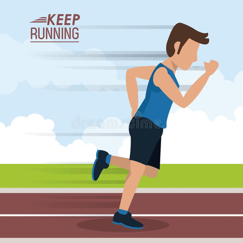 Colorful poster keep running with male athlete sprinting in track vector illustration