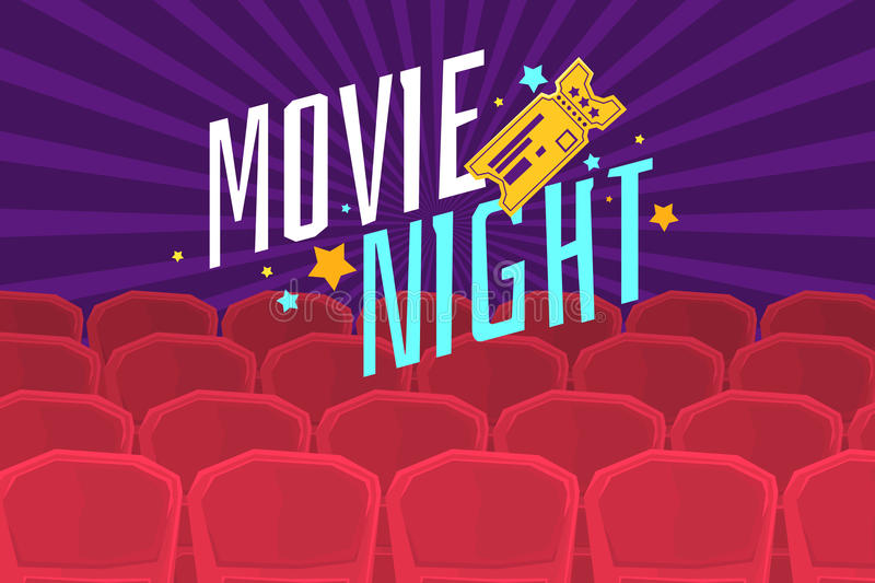 Colorful poster movie night with cinema, tickets and chairs. stock illustration