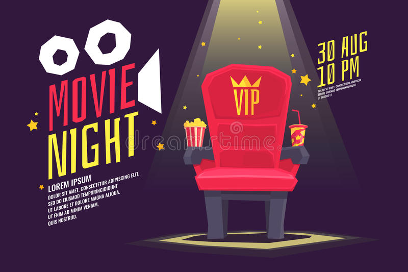 Colorful poster movie night with a projector, reels, seat and ticket. royalty free illustration