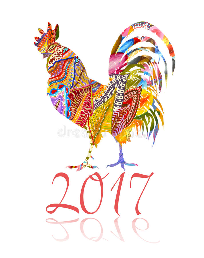 Colorful poster of a rooster isolated on white background. Good for prints, covers, posters, cards, gift design. Oriental happy vector illustration