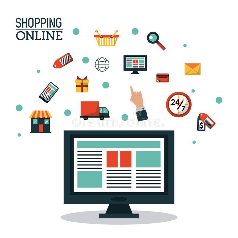 Colorful poster shopping online with desktop computer and icons on top royalty free illustration