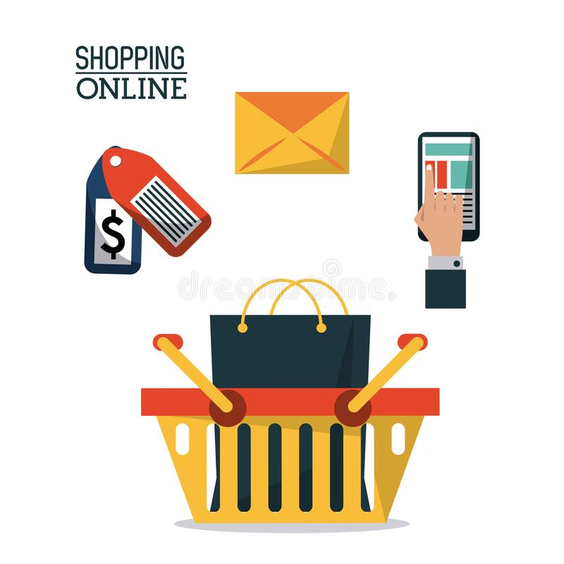 Colorful poster shopping online with shopping basket and icons for buying on top vector illustration