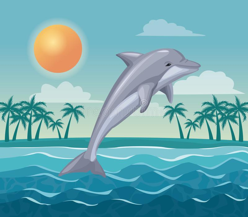 Colorful poster sky landscape of palm trees on the beach and dolphin jump in the waves vector illustration