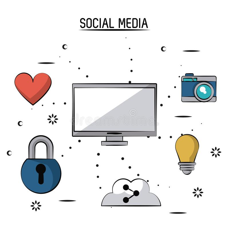 Colorful poster of social media with desktop computer and icons heart and padlock and cloud link and light bulb and. Camera vector illustration royalty free illustration