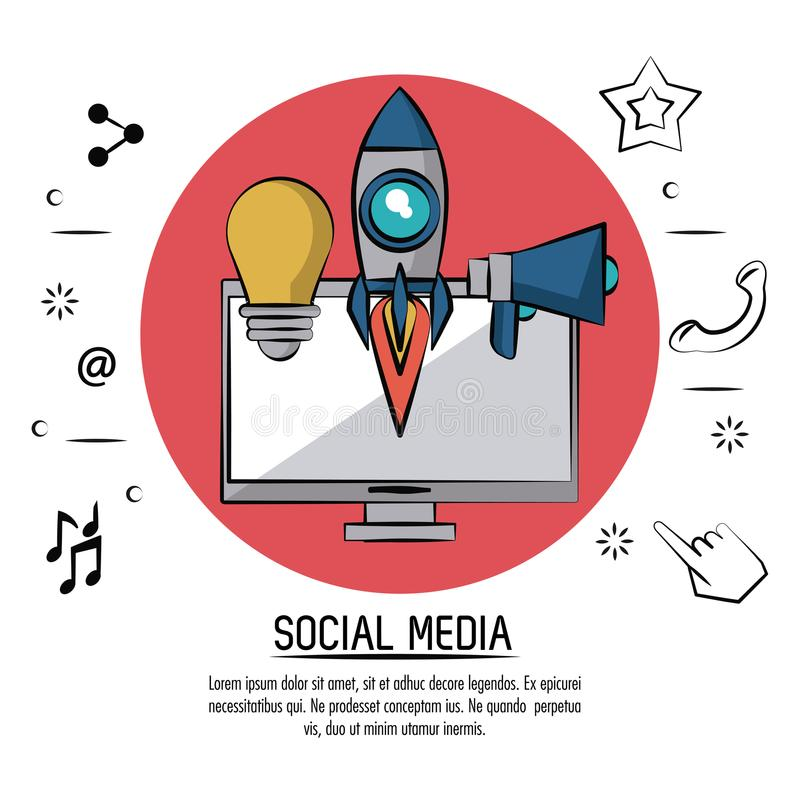 Colorful poster of social media with desktop computer in red circle and icons light bulb and rocket and megaphone. Vector illustration stock illustration