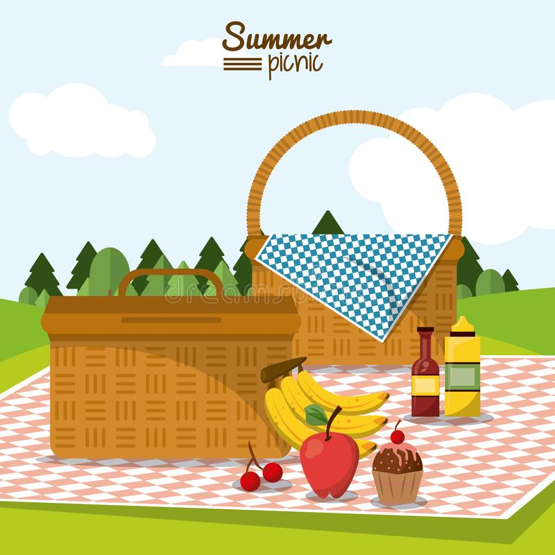 Colorful poster of summer picnic with field landscape and two picnic basket in tablecloth with fruits and dessert stock illustration