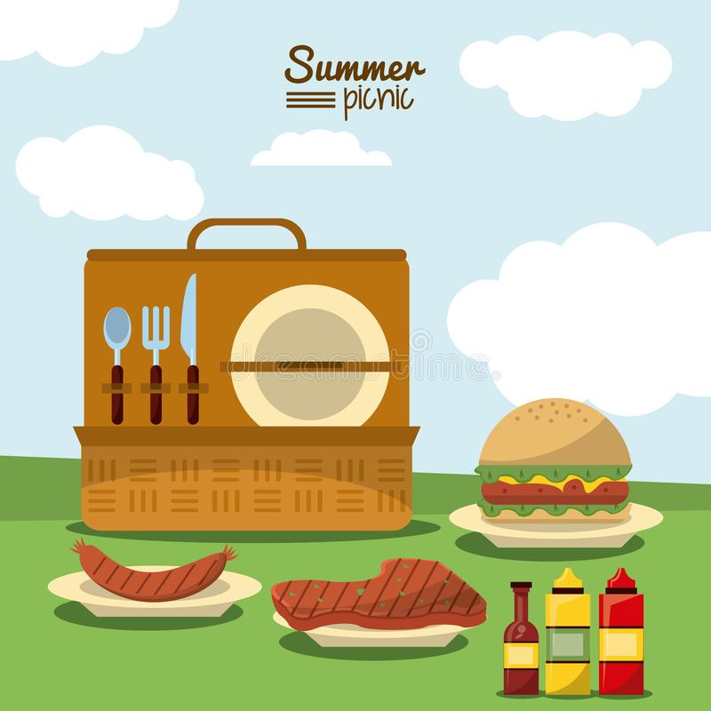Colorful poster of summer picnic with outdoor landscape and picnic basket with cutlery set and dishes with meat and stock illustration